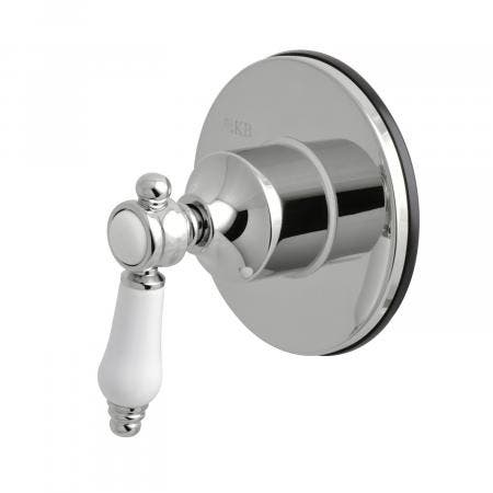 Kingston Brass KS3031BPL Three-Way Diverter Valve with Single Handle and Round Plate, Polished Chrome