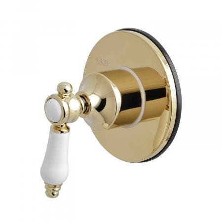 Kingston Brass KS3032BPL Three-Way Diverter Valve with Single Handle and Round Plate, Polished Brass