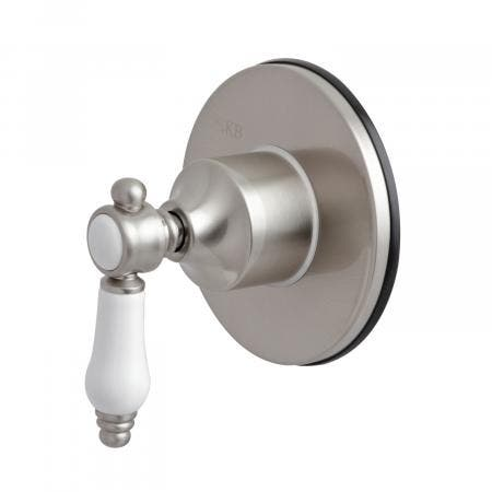 Kingston Brass KS3038BPL Three-Way Diverter Valve with Single Handle and Round Plate, Brushed Nickel