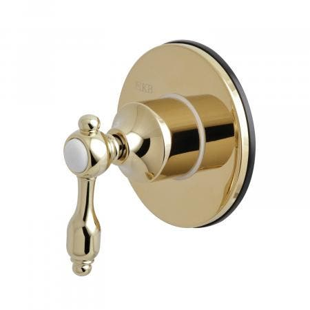 Kingston Brass KS3032TAL Three-Way Diverter Valve with Single Handle and Round Plate, Polished Brass