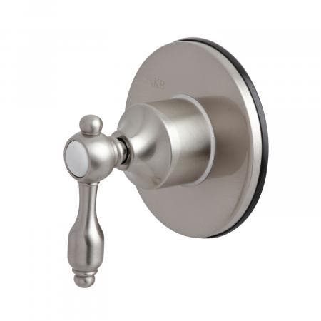 Kingston Brass KS3038TAL Three-Way Diverter Valve with Single Handle and Round Plate, Brushed Nickel