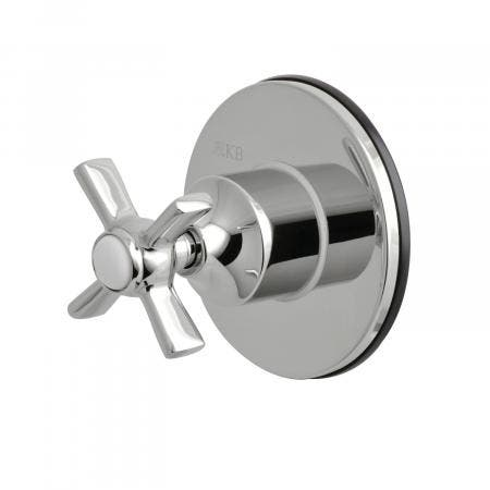 Kingston Brass KS3031ZX Three-Way Diverter Valve with Single Handle and Round Plate, Polished Chrome