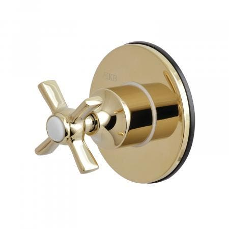 Kingston Brass KS3032ZX Three-Way Diverter Valve with Single Handle and Round Plate, Polished Brass