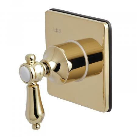 Kingston Brass KS3042BAL Three-Way Diverter Valve with Single Handle and Square Plate, Polished Brass