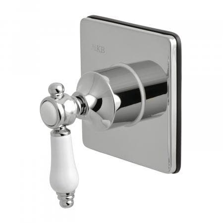 Kingston Brass KS3041BPL Three-Way Diverter Valve with Single Handle and Square Plate, Polished Chrome