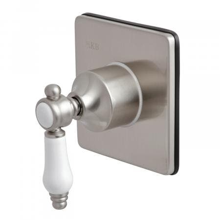 Kingston Brass KS3048BPL Three-Way Diverter Valve with Single Handle and Square Plate, Brushed Nickel