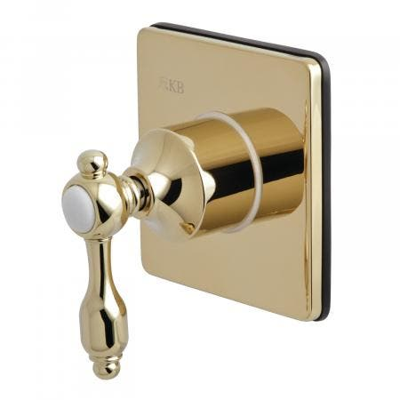 Kingston Brass KS3042TAL Three-Way Diverter Valve with Single Handle and Square Plate, Polished Brass