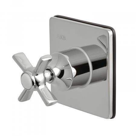 Kingston Brass KS3041ZX Three-Way Diverter Valve with Single Handle and Square Plate, Polished Chrome