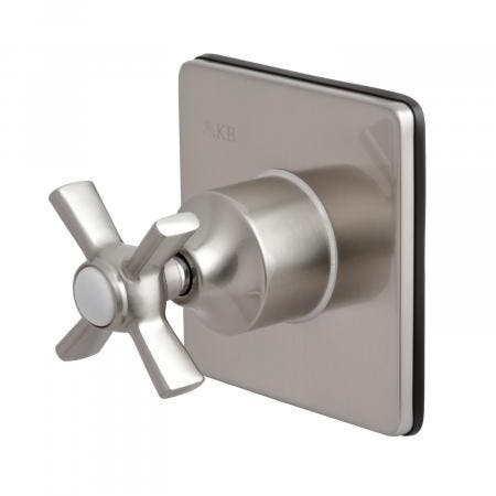 Kingston Brass KS3048ZX Three-Way Diverter Valve with Single Handle and Square Plate, Brushed Nickel
