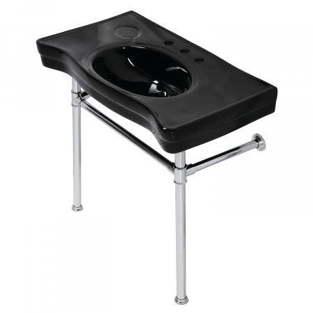 Fauceture VPB136K1ST Imperial Console Sink Basin With Stainless Steel Leg, Black/Polished Chrome