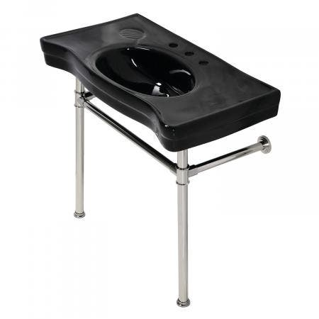 Fauceture VPB136K6ST Imperial Console Sink Basin With Stainless Steel Leg, Black/Polished Nickel