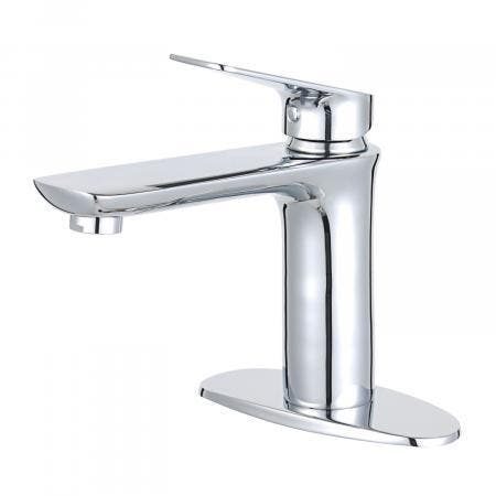 Fauceture LS4201CXL Frankfurt Single-Handle Bathroom Faucet with Deck Plate and Drain, Polished Chrome