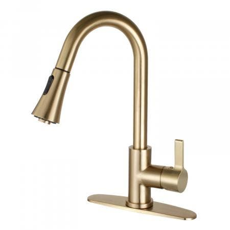 Gourmetier LS8723CTL Continental Single-Handle Pull-Down Kitchen Faucet, Brushed Brass