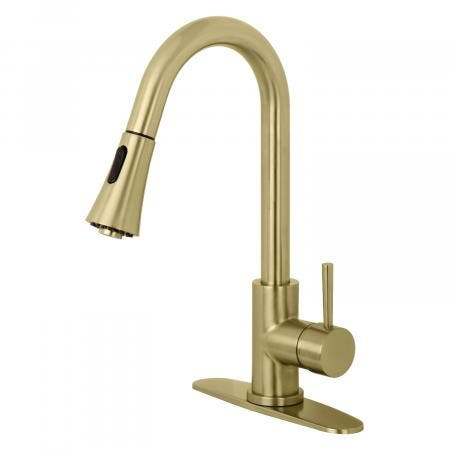 Gourmetier LS8723DL Concord Single-Handle Pull-Down Kitchen Faucet, Brushed Brass