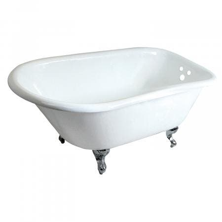 Aqua Eden VCT3D483018NT1 48-Inch Cast Iron Clawfoot Tub, White/Polished Chrome