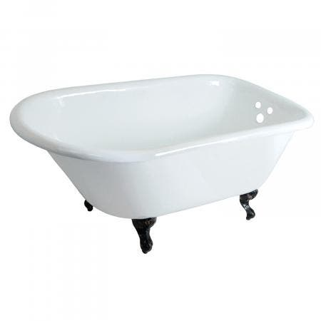 Aqua Eden VCT3D483018NT5 48-Inch Cast Iron Clawfoot Tub, White/Oil Rubbed Bronze