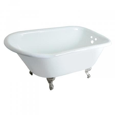 Aqua Eden VCT3D483018NT8 48-Inch Cast Iron Clawfoot Tub, White/Brushed Nickel