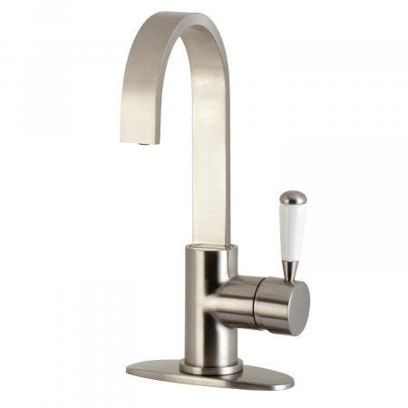 Kingston Brass LS8618DPL Paris One-Handle 1-Hole Deck Mounted Widespread Bar Faucet, Brushed Nickel