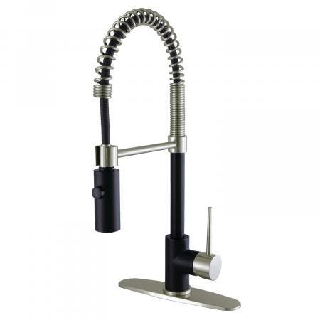 Gourmetier LS8779NYL Single-Handle Pull-Down Kitchen Faucet, Matte Black/Brushed Nickel