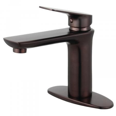 Fauceture LS4205CXL Frankfurt Single-Handle Bathroom Faucet with Deck Plate and Drain, Oil Rubbed Bronze