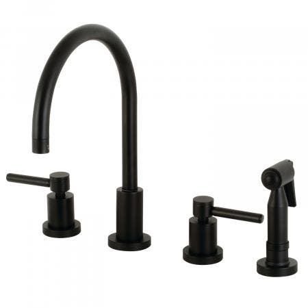 Kingston Brass KS8720DLBS Concord 8-Inch Widespread Kitchen Faucet with Brass Sprayer, Matte Black