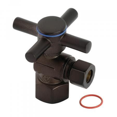 "Kingston Brass CC43105DX Concord 1/2"" IPS x 3/8"" O.D. Quarter Turn Angle Stop Valve, Oil Rubbed Bronze"