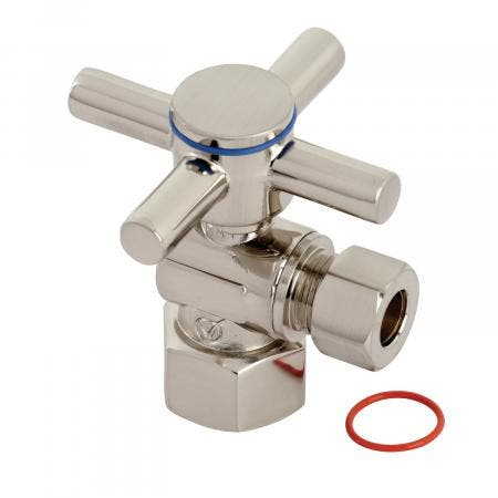 """Kingston Brass CC43108DX Concord 1/2"""" IPS x 3/8"""" O.D. Quarter Turn Angle Stop Valve, Brushed Nickel"""