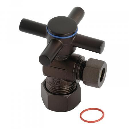 "Kingston Brass CC53305DX Concord 5/8"" x 3/8"" O.D. Comp, Quarter Turn Angle Stop Valve, Oil Rubbed Bronze"