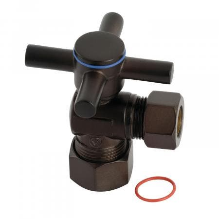 "Kingston Brass CC54405DX Concord 5/8"" x 1/2"" O.D. Comp, Quarter Turn Angle Stop Valve, Oil Rubbed Bronze"