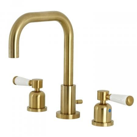 Kingston Brass FSC8933DPL Paris Widespread Bathroom Faucet with Brass Pop-Up, Brushed Brass