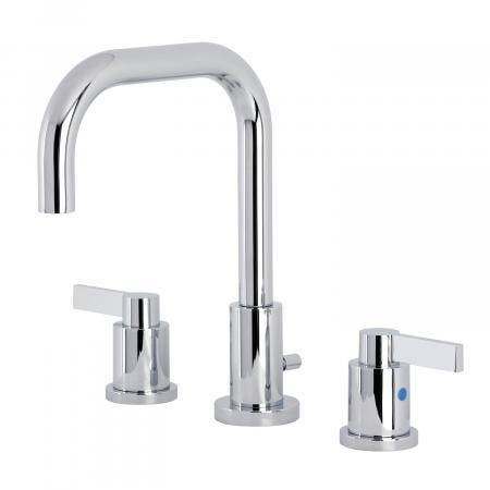 Kingston Brass FSC8931NDL NuvoFusion Widespread Bathroom Faucet with Brass Pop-Up, Polished Chrome