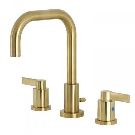 Kingston Brass FSC8933NDL NuvoFusion Widespread Bathroom Faucet with Brass Pop-Up, Brushed Brass