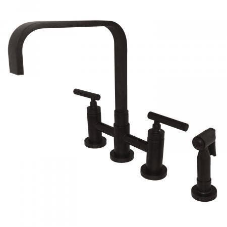 Kingston Brass KS8255CMLBS Manhattan 2-Handle Kitchen Faucet with Brass Side Sprayer, Oil Rubbed Bronze
