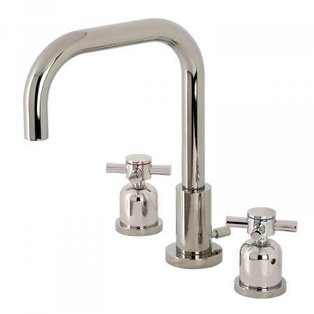 Kingston Brass FSC8939DX Concord Widespread Bathroom Faucet with Brass Pop-Up, Polished Nickel