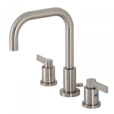 Kingston Brass FSC8938NDL NuvoFusion Widespread Bathroom Faucet with Brass Pop-Up, Brushed Nickel