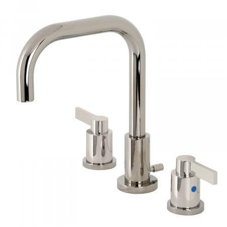 Kingston Brass FSC8939NDL NuvoFusion Widespread Bathroom Faucet with Brass Pop-Up, Polished Nickel