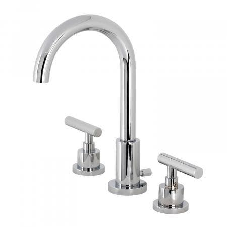 Kingston Brass FSC8921CML Manhattan Widespread Bathroom Faucet with Brass Pop-Up, Polished Chrome