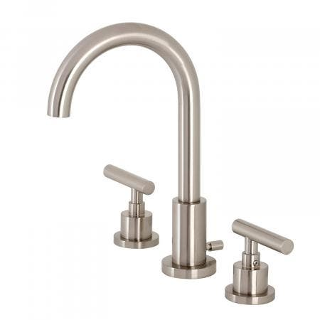 Kingston Brass FSC8928CML Manhattan Widespread Bathroom Faucet with Brass Pop-Up, Brushed Nickel