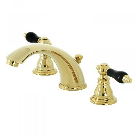 Kingston Brass KB962AKL Duchess Widespread Bathroom Faucet with Plastic Pop-Up, Polished Brass