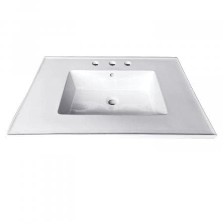 Fauceture LBT25227W34 Continental 25-Inch X 22-Inch Ceramic Vanity Top with Integrated Basin (3 Hole), White