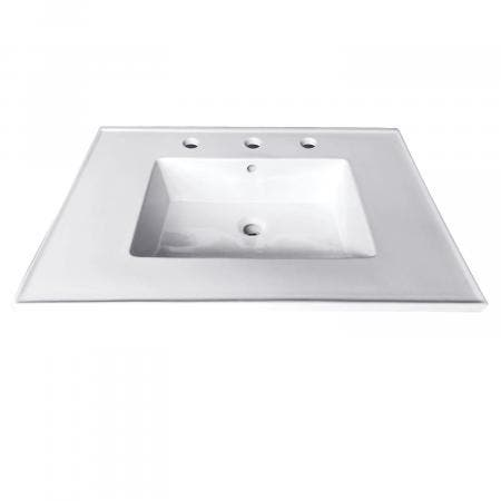 Fauceture LBT25227W38 Continental 25-Inch X 22-Inch Ceramic Vanity Top with Integrated Basin (3 Hole), White