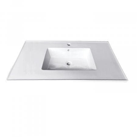 Fauceture LBT312271 Continental 31-Inch X 22-Inch Ceramic Vanity Top with Integrated Basin (1 Hole), White
