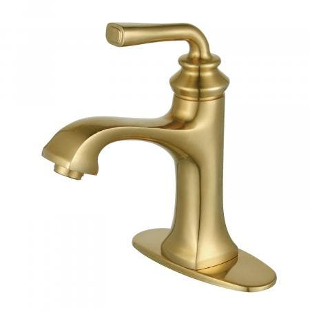 Fauceture LS4423RXL Restoration Single-Handle Bathroom Faucet with Push-Up Drain and Deck Plate, Brushed Brass