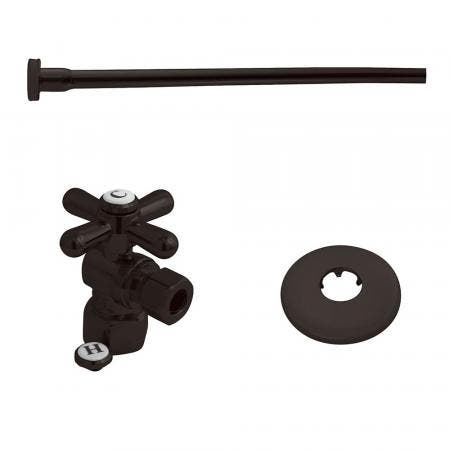 "Kingston Brass KTK105P Toilet Supply Kit, 1/2"" IPS (Iron Pipe Size) Inlet - 3/8"" Outlet, Oil Rubbed Bronze"