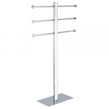 Kingston Brass CCS6021 Freestanding Stainless Steel Towel Holder with Rectangular Base, Polished Chrome
