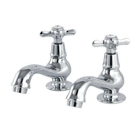 Kingston Brass KS1101BEX Basin Tap Faucet with Cross Handle, Polished Chrome