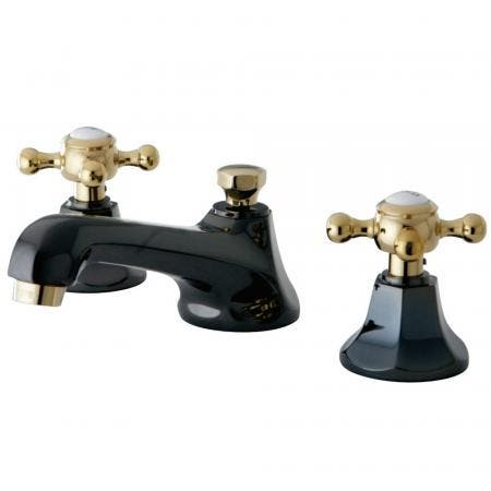 Kingston Brass NS4469BX Widespread Bathroom Faucet, Black Stainless Steel/Polished Brass