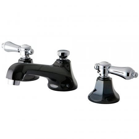 Kingston Brass NS4467BAL Widespread Bathroom Faucet, Black Stainless Steel/Polished Chrome