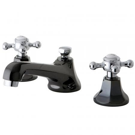 Kingston Brass NS4467BX Widespread Bathroom Faucet, Black Stainless Steel/Polished Chrome
