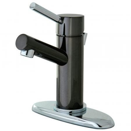 Kingston Brass NS8427DL Water Onyx Single-Handle Bathroom Faucet, Black Stainless Steel/Polished Chrome